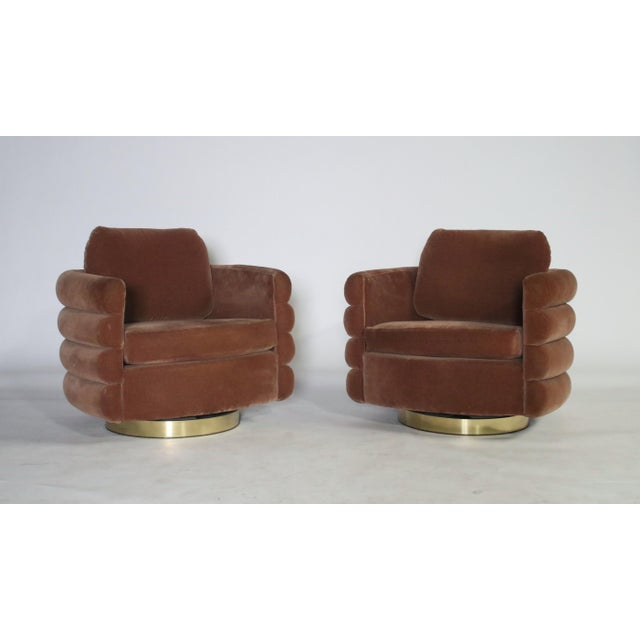 Gold Milo Baughman Thayer Coggin Swivel Chairs - a Pair For Sale - Image 8 of 8