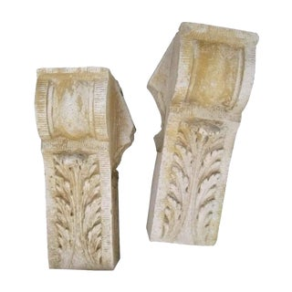 Leafy Terra Cotta Corbel Stones - A Pair For Sale