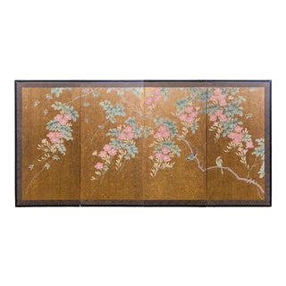 """""""Sparrows With Cherry Blossom"""" 4-Panel Paint on Gold Foil Chinoiserie Hanging Screen For Sale"""