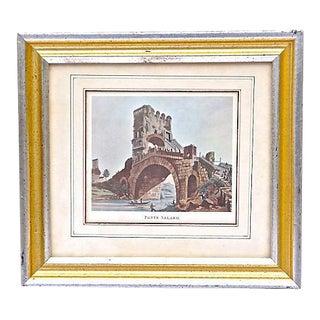 Antique Roman Bridge Ruins Engraving For Sale
