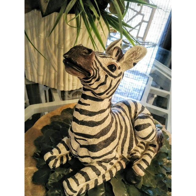 1980s Black and White Sitting Zebra Palm Beach Regency Statue For Sale - Image 4 of 8