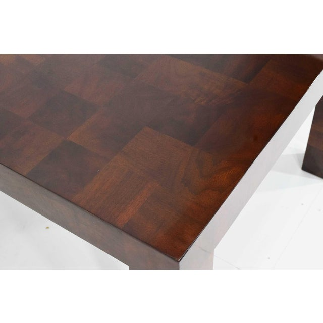Brown Milo Baughman Burl Wood Parquet Card or Dining Table For Sale - Image 8 of 13