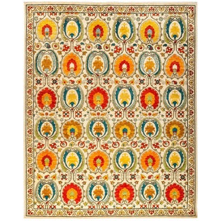 """Suzani Hand Knotted Area Rug - 8' 2"""" X 10' 3"""" For Sale"""