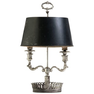 Turn of the Century French Silver Plate Bouillotte Lamp For Sale