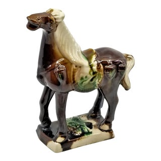 Small Vintage Ceramic Chinese Tang War Horse Sculpture For Sale