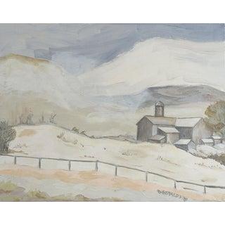 Gray Tonalist Farmhouse Landscape Painting For Sale