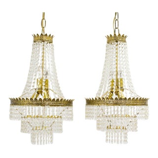 Three Tiered Wedding Cake Crystal Chandeliers - A Pair