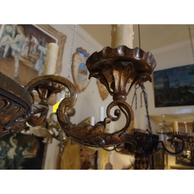 French Iron and Carved Wood Chandelier For Sale - Image 9 of 11