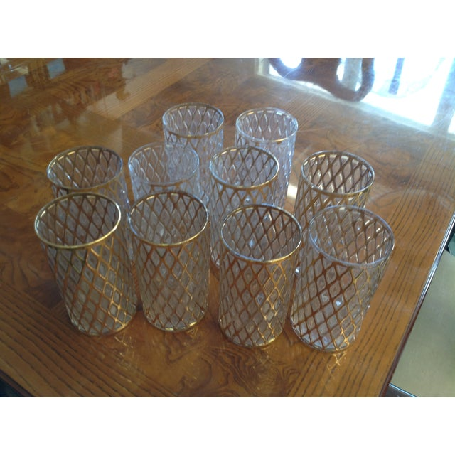 Mid-Century Gold Drinking Tumbler Glasses - S/10 - Image 5 of 7
