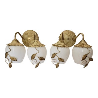 1950s Tole Style and Milk Glass Earl Lites Vanity Lights - a Pair For Sale