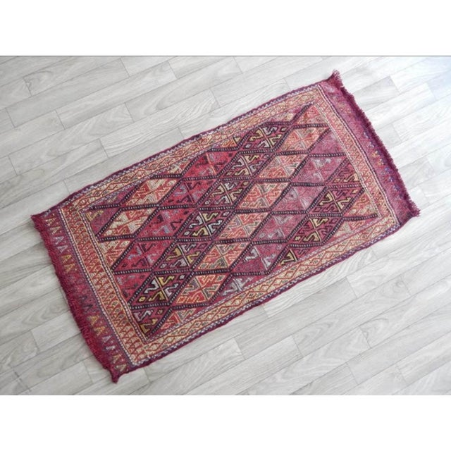 Islamic Masterwork Hand-Woven Rug Braided Small Kilim 1′6″ × 2′12″ For Sale - Image 3 of 8