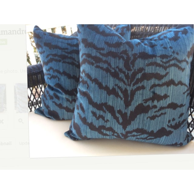 "Decadent silk velvet in deep ""Ocean Blue"", Le Tigre from Scalamandre features stripes in blue and black, and from this we..."