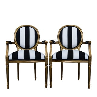 1990s Vintage French White and Black Stripe Gold Louis XVI Chairs - a Pair For Sale