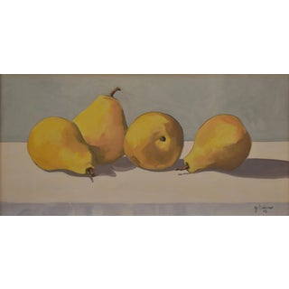 Four Pears' Oil Painting by Contemporary Expressionist George Brinner For Sale