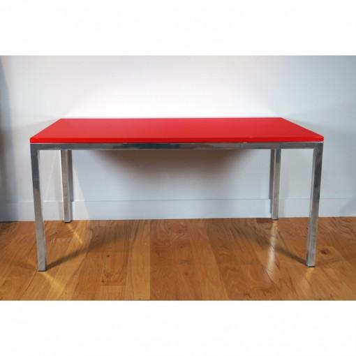 Classic Parsons style writing table. High gloss lacquer finish top available to order in any color. Polished stainless...