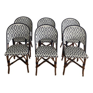 French Bistro Style Rattan Dining Chairs - Set of 6 For Sale