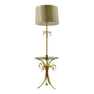 Italian Gilt Tole Palm Floor Lamp For Sale