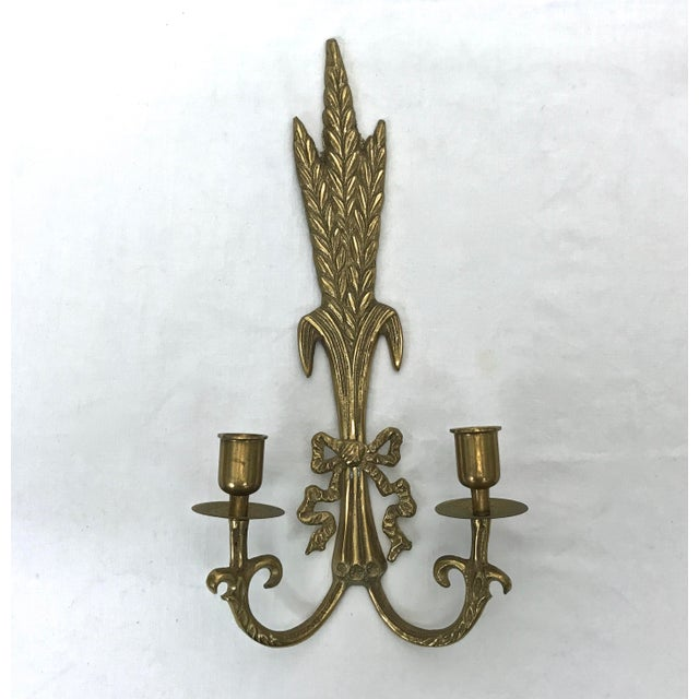 Brass Brass Wall Sconces - A Pair For Sale - Image 7 of 8