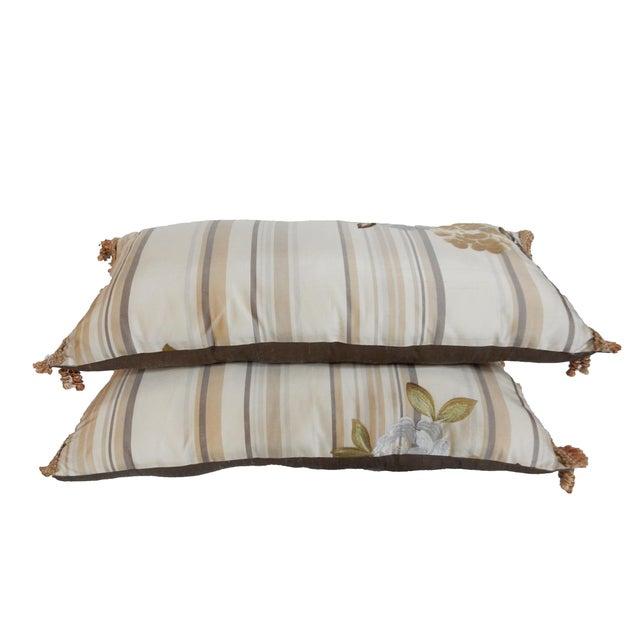 Custom Made Silk Lumbar Pillows - A Pair - Image 2 of 9