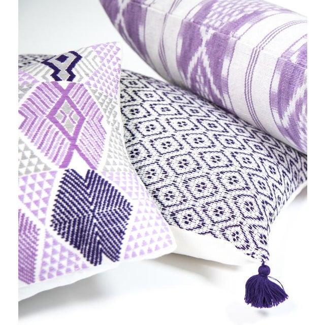 Lilac & White Ikat Guatemalan Pillow - Image 8 of 9