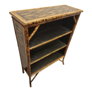 Antique English Bamboo Decoupaged Bookcase With Fish For Sale