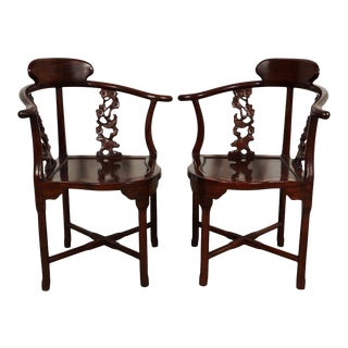 Vintage Chinese Carved Rosewood Corner Chairs - a Pair For Sale