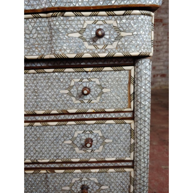 Syrian Beautiful Mother-Of-Pearl Inlay Chests Nightstands - A Pair For Sale In Los Angeles - Image 6 of 11