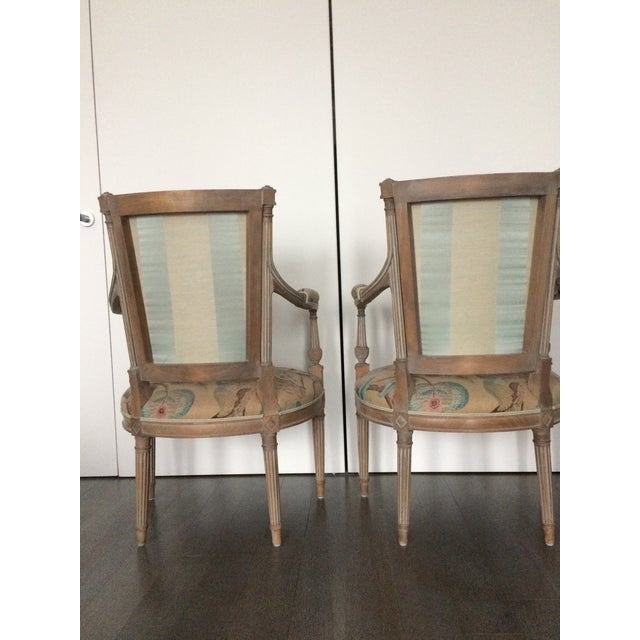 Modern Louis XVI Style Open Arm Chairs- a Pair For Sale - Image 4 of 9