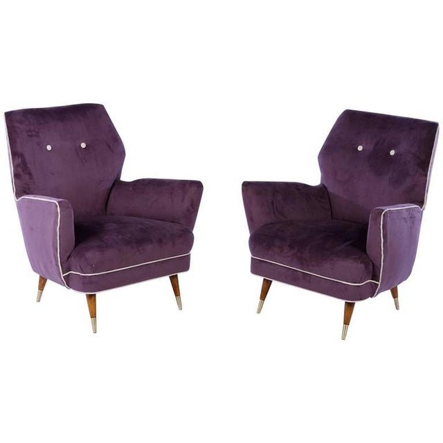 Brass Circa 1960 Italian Mid Century Modern Club Chairs - A Pair For Sale - Image 7 of 7
