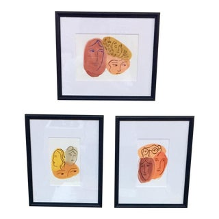 Three Mysteries Watercolor Paintings - Set of 3 For Sale