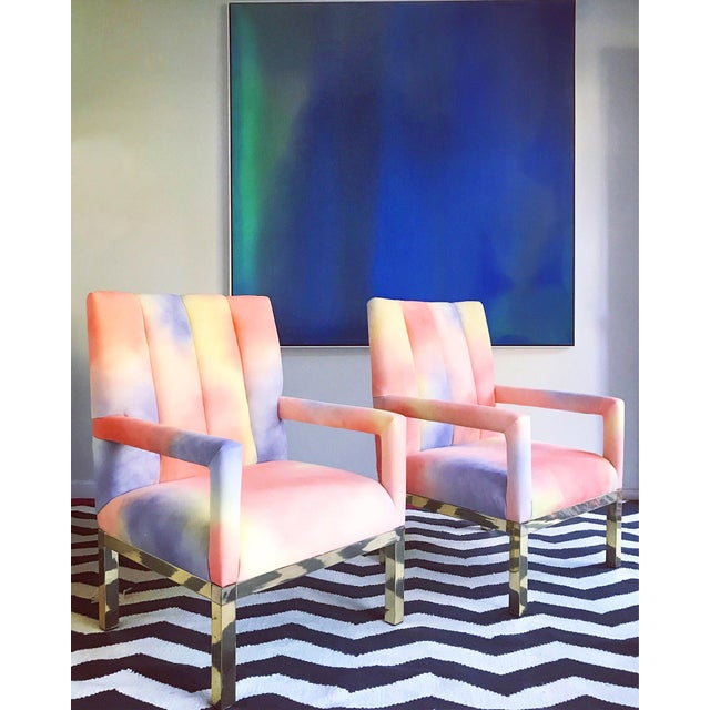 Yellow Mid Century Colorful Velvet Upholstered Brass Base Arm Chairs -A Pair For Sale - Image 8 of 9