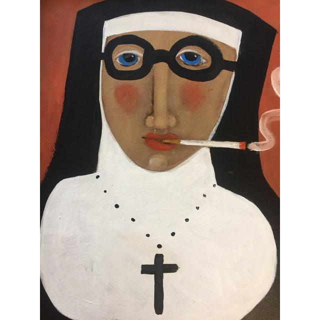"""Rose Walton """"Smoking Nun"""" Original Painting For Sale - Image 4 of 5"""