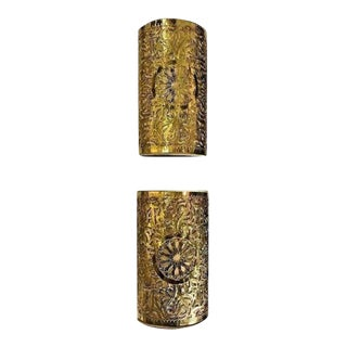 Moroccan Gold Toned Brass Wall Lanterns or Sconces - a Pair For Sale
