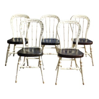 Set of 5 Ethan Allen Homestead Hitchcock Style Country Farmhouse Dining Chairs For Sale