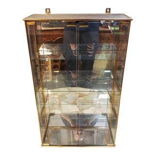 Mid 20th Century Antique Brass and Mirror Display Cabinet For Sale