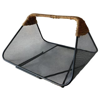 1950s Vintage Tony Paul for Woodlin-Hall Iron Rush Wrapped Magazine Rack For Sale