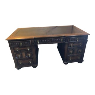 1920s Jacobean Solid Oak Desk with Brass Handles For Sale