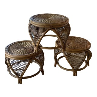 Vintage Rattan & Wicker Moroccan Stools Benches Ottomans Footstools -Set of 3 For Sale