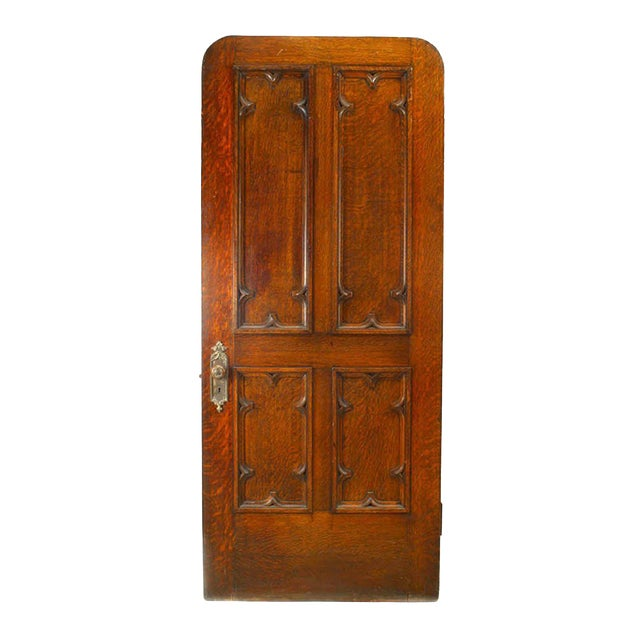 19th Century English Gothic Revival Paneled Oak Door For Sale