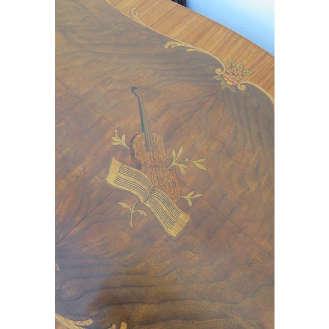 Brown Early 1900s Hand Carved Violin Inlay Coffee Table With Serving Glass Tray For Sale - Image 8 of 12