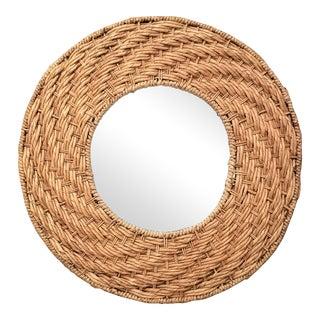 Mario Lopez Torres Style Seagrass Wicker Rattan Round Mirror For Sale