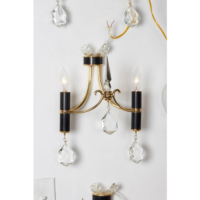 1940s Italian 1940s Brass, Black Enamel and Crystal Sconces For Sale - Image 5 of 9