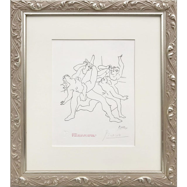 """Lithograph Picasso Pencil Signed Edition Lithograph """"Four Dancers"""" 1969 For Sale - Image 7 of 7"""