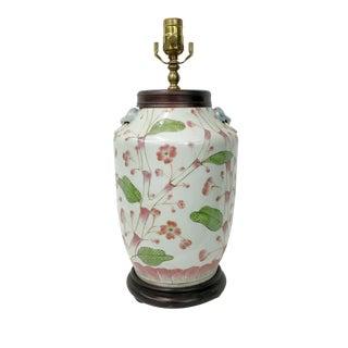 Vintage Peach Blossom & Leaves Vase Lamp