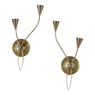 Pair of French 1960s Brass Sconces by Lunel For Sale