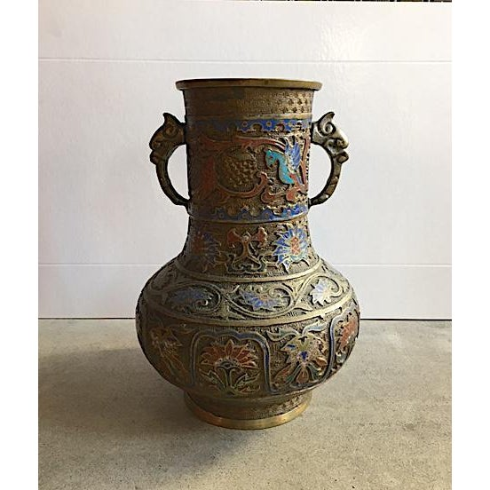 Vintage Japanese Brass Champleve Vase With Handles - Image 6 of 6