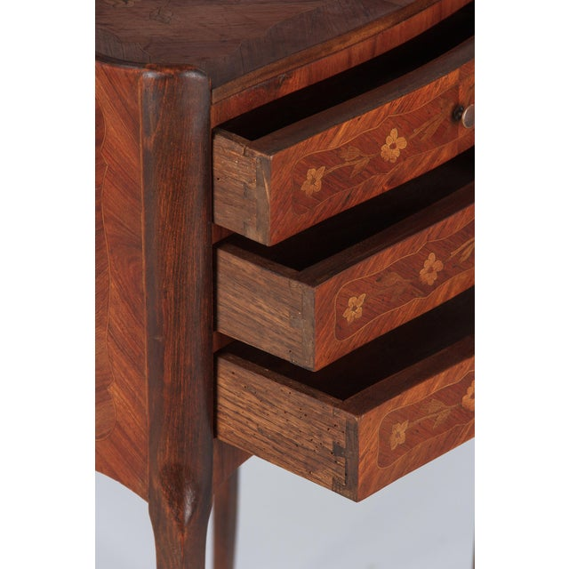 20th Century Louis XV Marquetry Bedside Chest of Drawers For Sale - Image 4 of 13