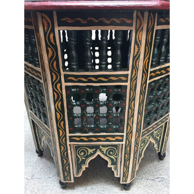 Moroccan Hand-Painted Dark Green Octagonal Side Table For Sale - Image 9 of 10