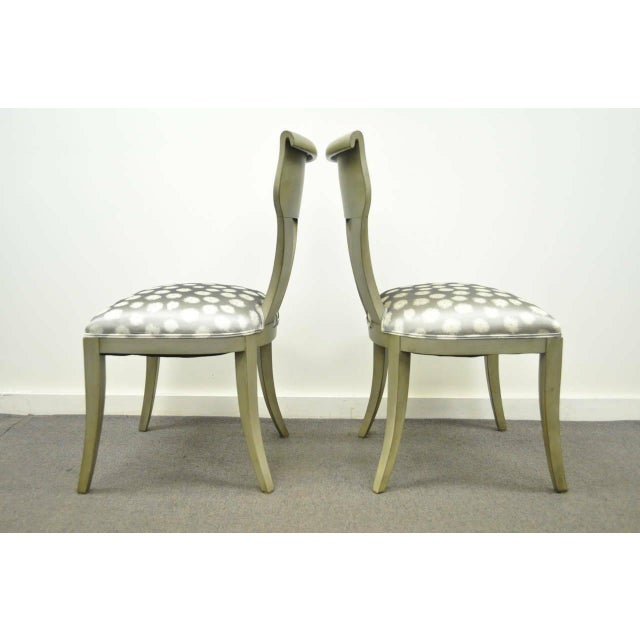 1960s Vintage eHollywood Regency Klismos Neoclassical Style Grey Painted Side Chairs- A Pair For Sale - Image 4 of 10