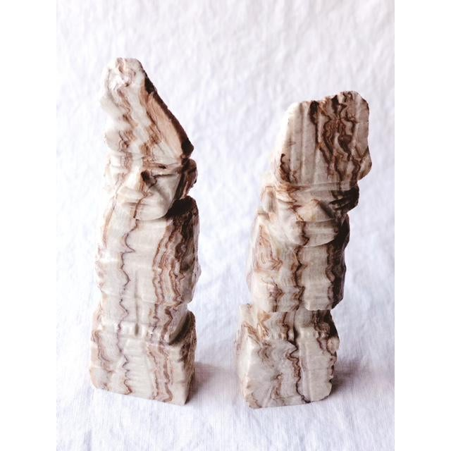 Stone 1900s Figurative Solid Stone Primative Figurines - a Pair For Sale - Image 7 of 7